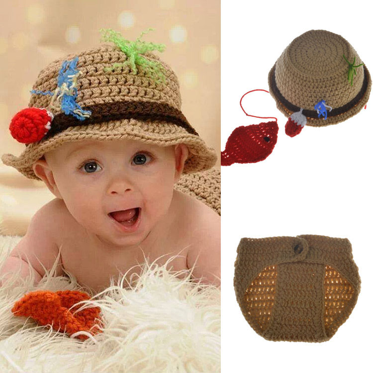 9b0323da40520 US $2.25 41% OFF|Newborn Baby Fisherman Hat and Pants Set Baby Crochet  Photo Props Crochet Baby Boys Fishing Outift Free size for 0 6M MZS  15070-in ...