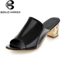 купить BONJOMARISA 2019 Fashion Peep Toe Square High Heels Women Shoes Woman Summer Pumps Slip On Black Mules Shoes Size 34-39 по цене 1705.34 рублей