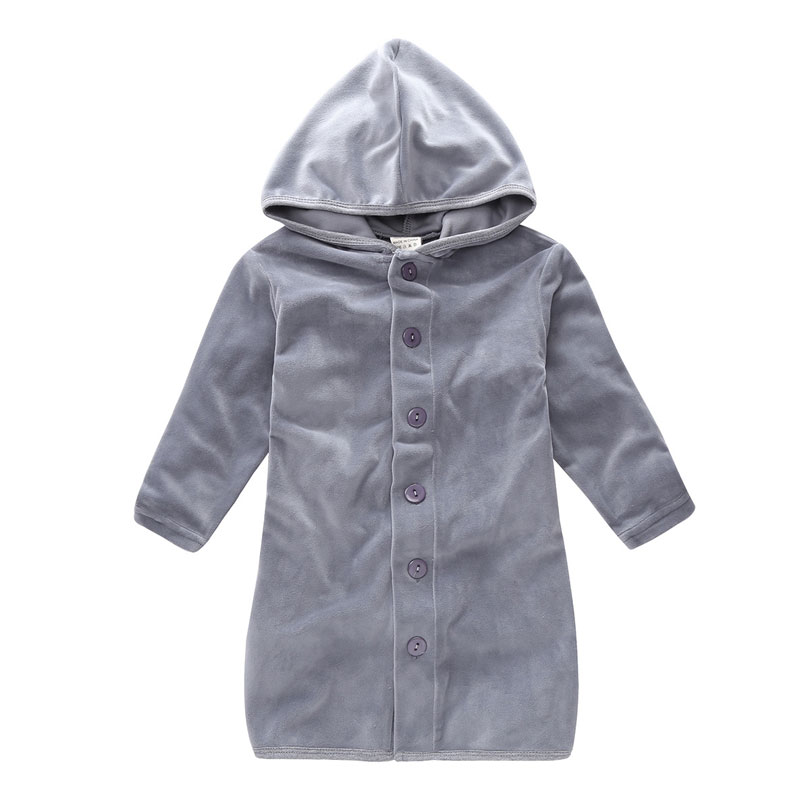Kids Robes Child Boys Girls Robes Solid Hooded Bath Robes Long Sleeve Baby Boy Bathrobe Child Clothing Flannel Free Shipping