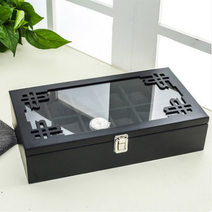 12 Slots MDF Watch Storage Box Black Mens Mechancal Watch Display Case Simple Jewelry Fashion Women Gift Boxes C059 | Watch Boxes