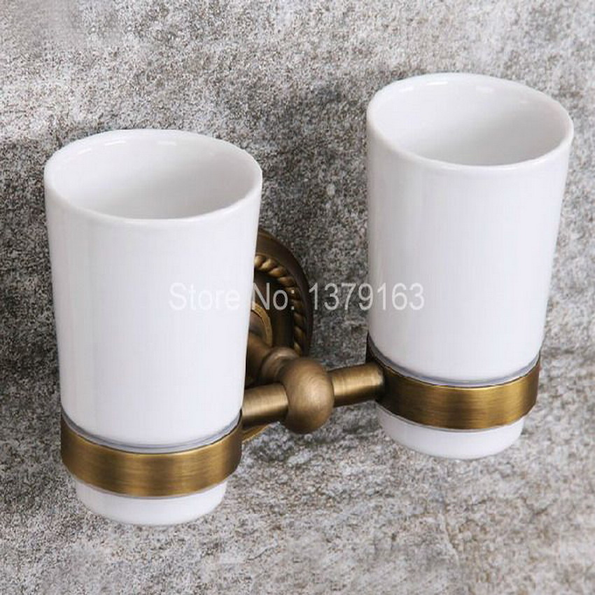 Retro Vintage Brass Antique Base Bathroom Bath Tumbler Holder with Double Ceramics cup Wall Mounted aba275