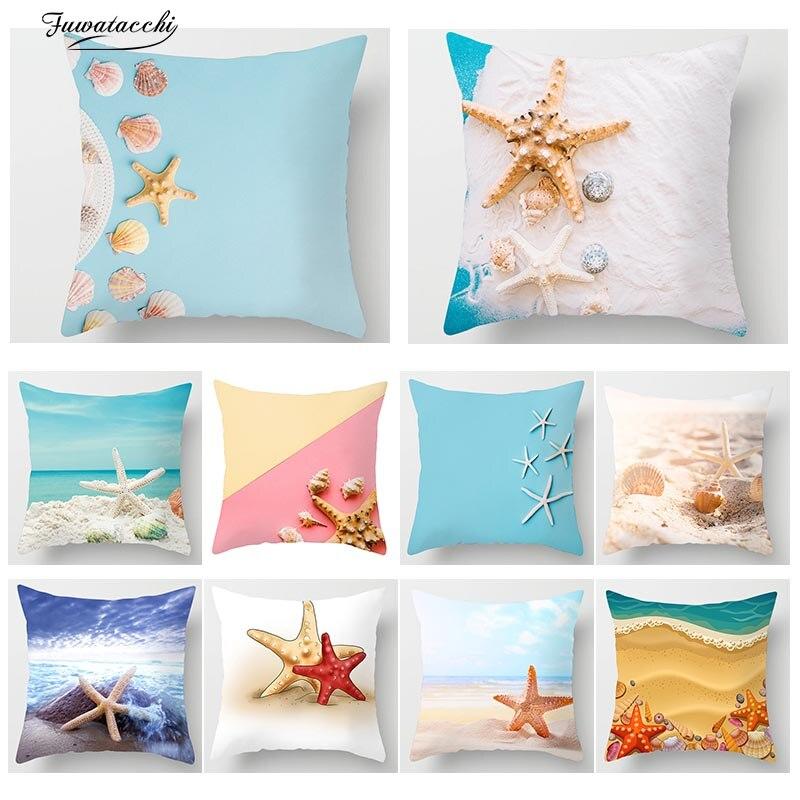Fuwatacchi Starfish Bonito Capa de Almofada de Impressão de Praia Animais Oceano Fronha Sofá Cadeira Casa Decoração Do Carro Almofadas Capa