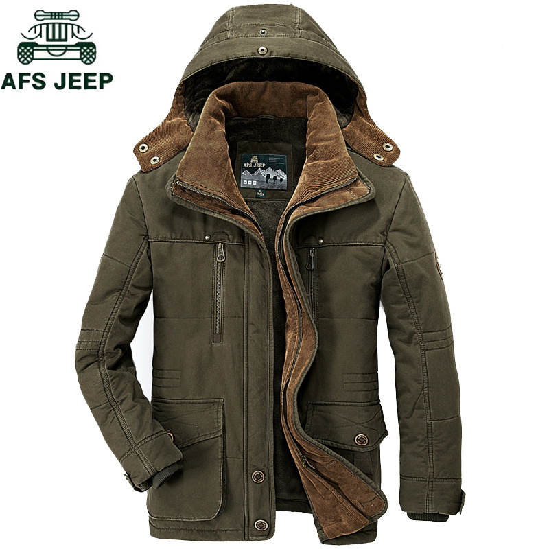 AFS JEEP New 2018 Military Fleece Parka men High Quality Embroidery Thicken Autumn Brand Army Jackets