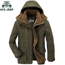 AFS JEEP Brand Thick Winter Parkas men Cotton Warm Jacket men Plus SIze 5XL 6XL
