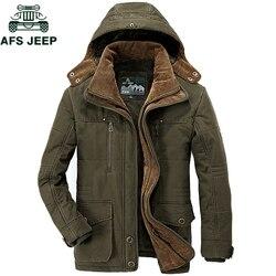AFS JEEP marca gruesa Parkas de Invierno hombres Chaqueta de algodón caliente hombres de talla grande 5XL 6XL 7XL Casual Multi-Parkas con bolsillo Hombre Invierno