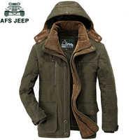 AFS JEEP marka grube zimowe parki mężczyźni ciepła kurtka bawełniana mężczyźni Plus rozmiar 5XL 6XL 7XL Casual multi-pocket Parkas Hombre Invierno