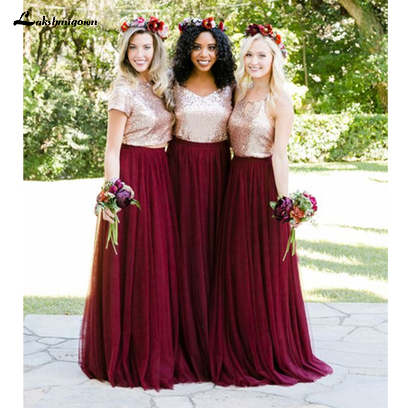 Two Tone Pieces Rose Gold Sequin Burgundy Bridesmaid Dresses 2019 Long Junior Maid of Honor Wedding Party Guest Dress Cheap
