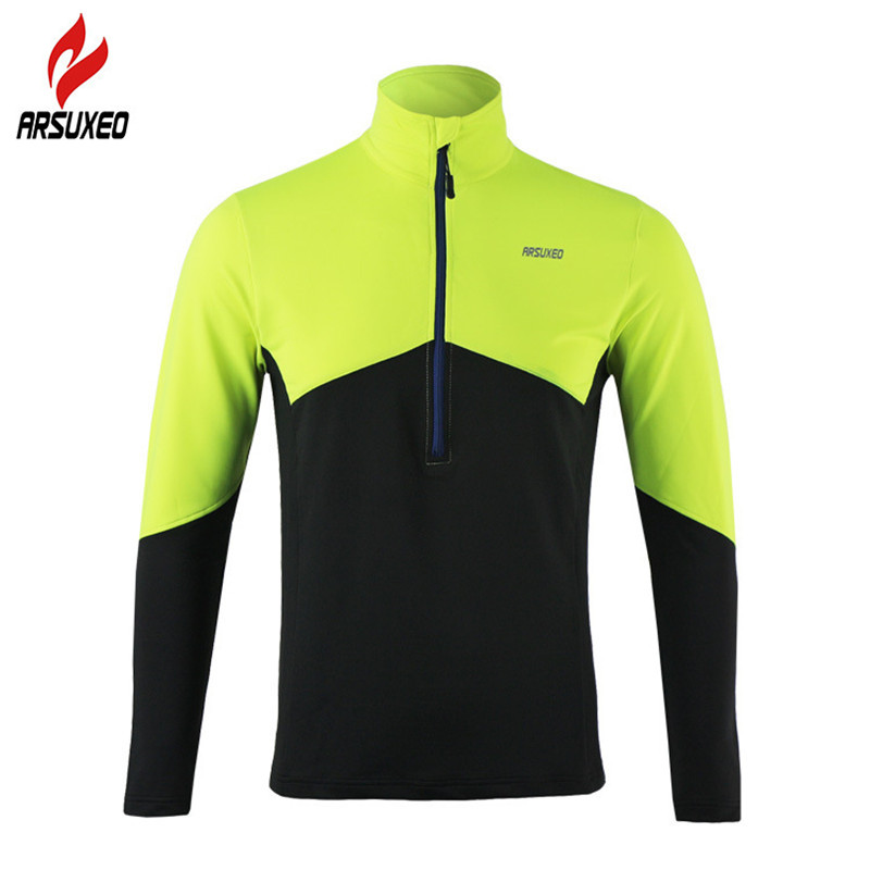 ARSUXEO Dry Fit Running Shirt Men Cycling Jersey Long Sleeve T Shirt Soccer Gym Fitness Training