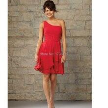 New Vestido Para Madrinha Free Custom Made Plus Size Sleeveless Strapless Above Knee Mini Chiffon One Shoulder Bridesmaid Dress