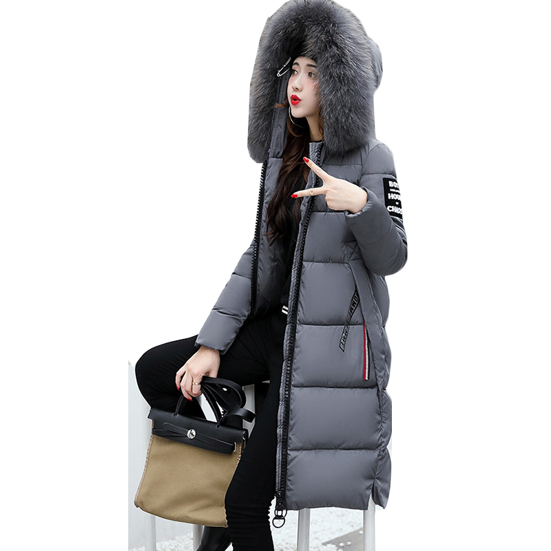 2019 Winter Women's Down Parkas Winter Jacket Big Fur Thick Slim Long Coat Fashion Zipper Hooded Female Long Outerwear