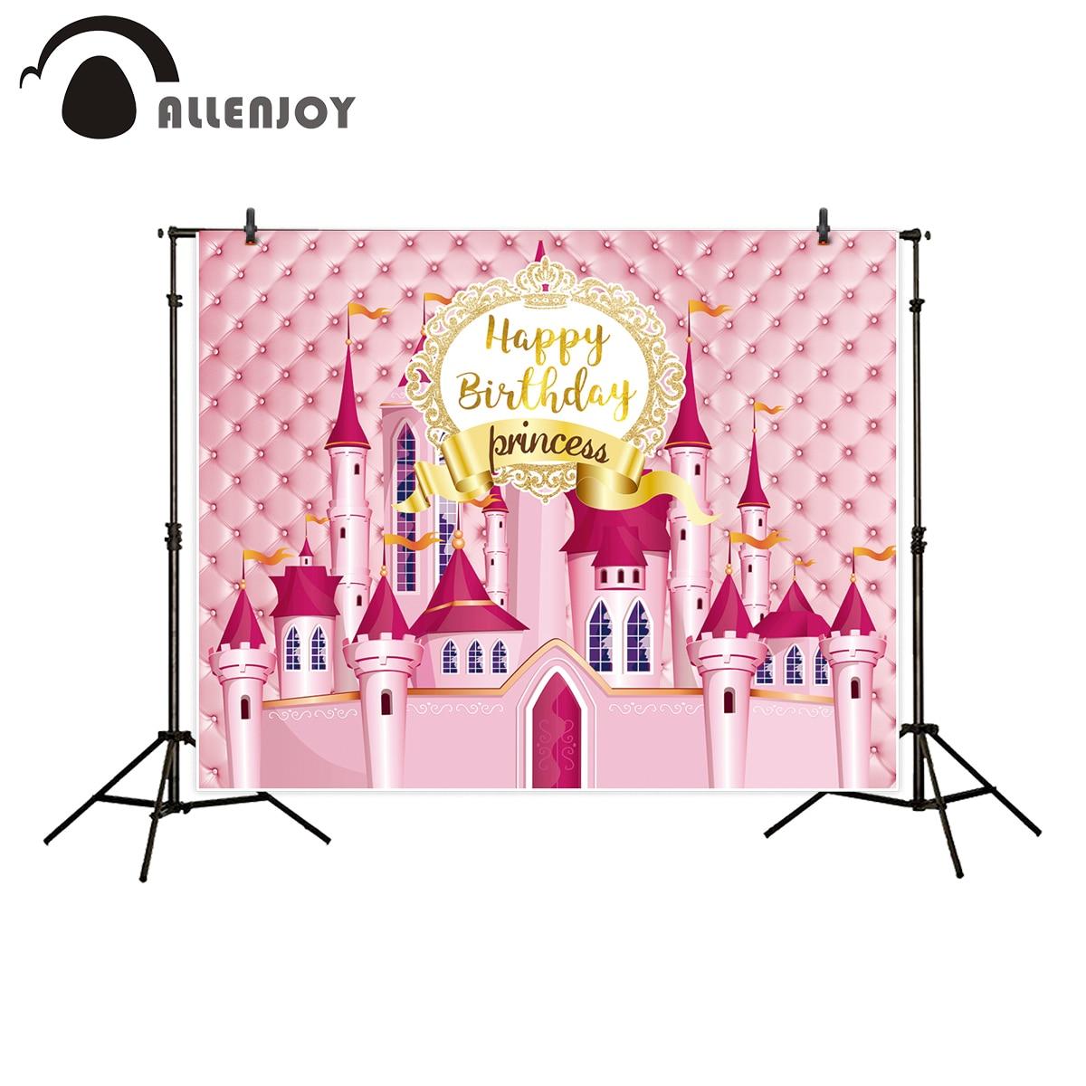 Allenjoy photography backdrop Princess pink castle headboard happy birthday children's photographic backgrounds photocall studio