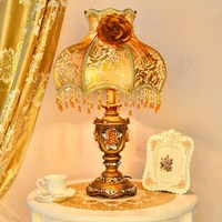 Fashion french rustic wedding gift princess court royal fabric lamp shade resin decoration table lamps for bed room