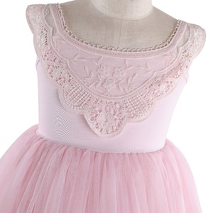 Image 3 - Flofallzique Kid Clothes Pink Round Neck Lace Tulle Tutu Party Wedding Christmas Sweet Cute Girl Dress  1 8Y