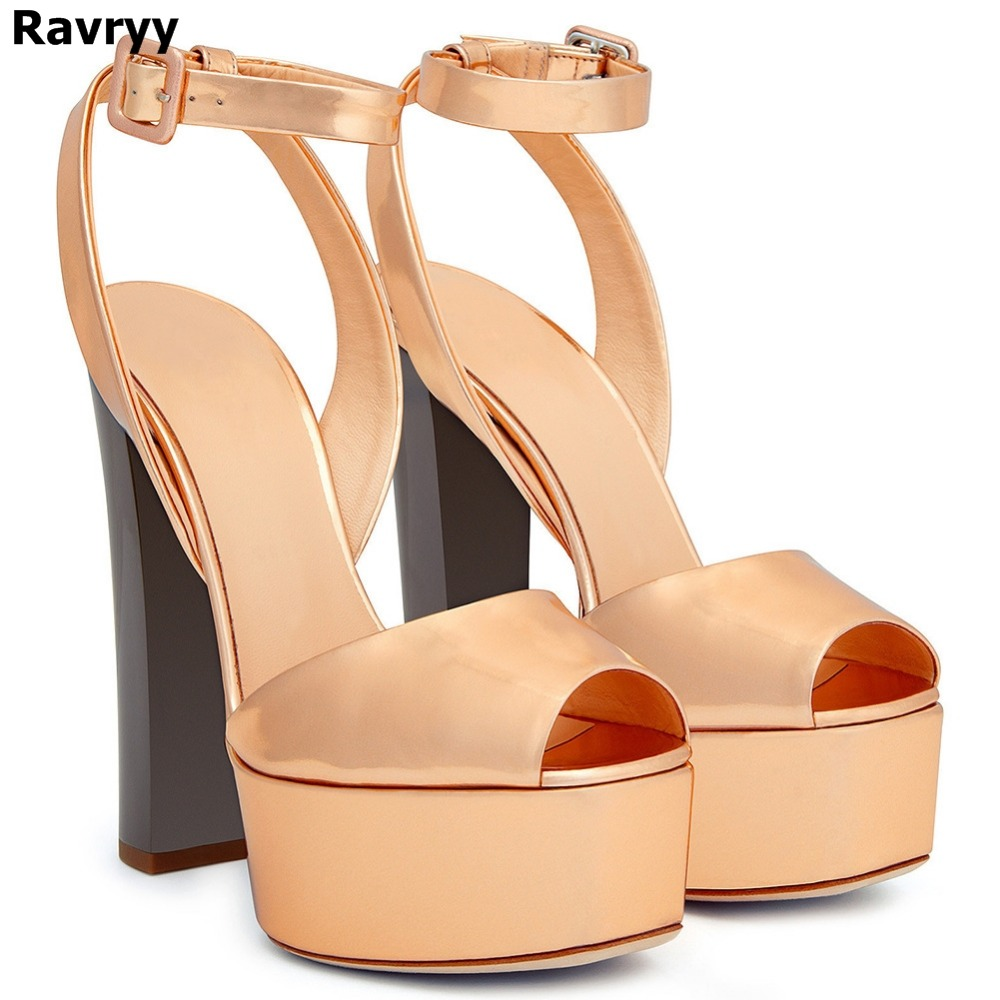 New Peep Toe Platform High Heel Sandals For Women Shiny Patent Black Rose Gold Heels Chunky Heel Summer Shoes Glitter Sandals ladylike women s sandals with chunky heel and beading design