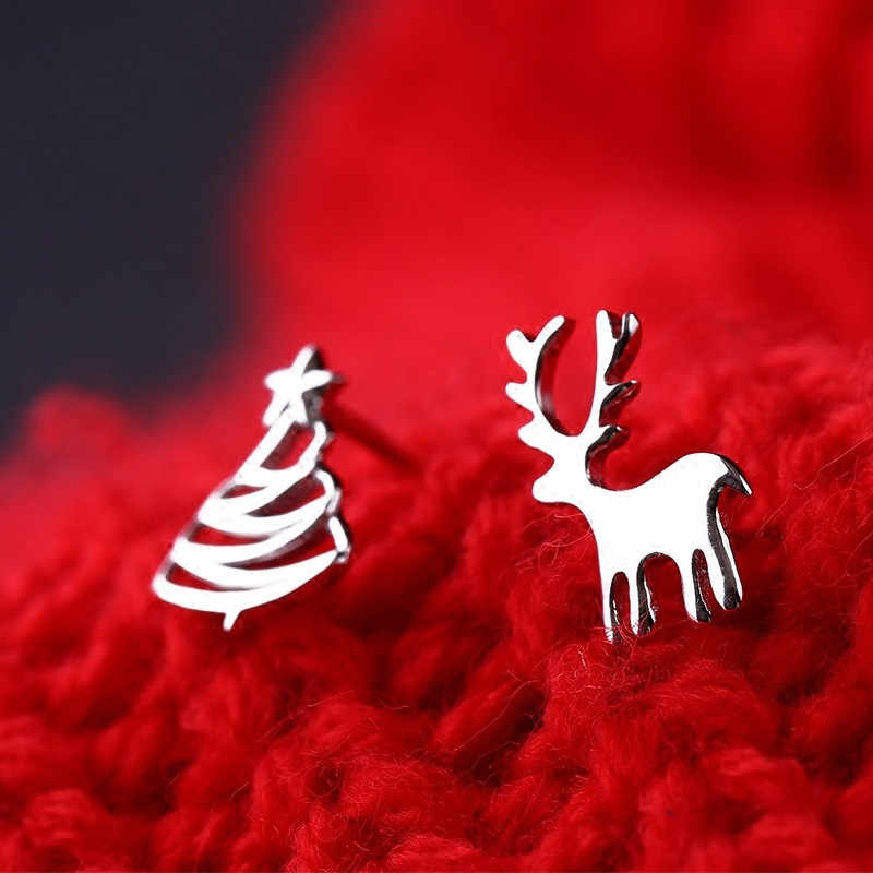 QCOOLJLY 2pcs=1pair Silver Color woman's jewelry Cute Elk Christmas Tree Stud Earrings Elegant Alloy Fashion Accessories