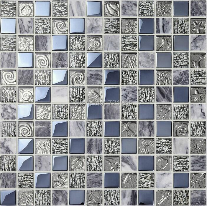 grey marble stone mosaic kitchen backsplash wall tile sgmt164 black