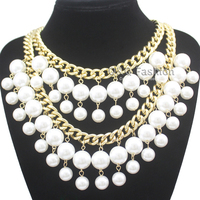 Statement 1920s Great Gatsby Gold Double Curb Chain Pearls Collar Bib Necklace Jewelry Free Shipping