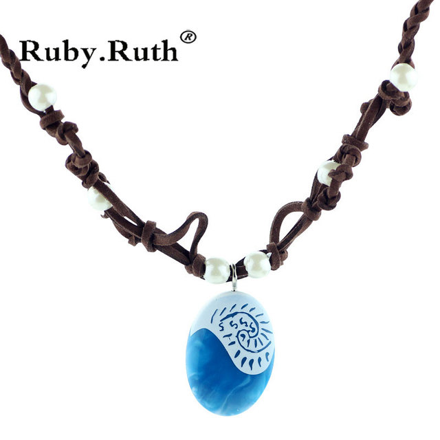 Moana Ocean romance Rope chain necklaces blue Stone necklaces & pendants necklace for women jewelry