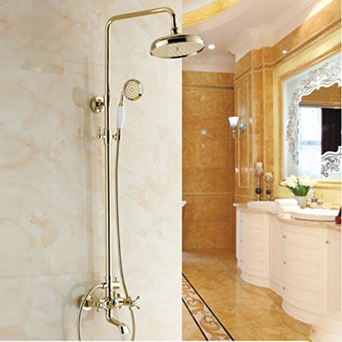 US $114 95 45% OFF|Oulantron Gold Polished Bathroom Rainfall Shower Faucet  Set Tub Mixer Tap Wall Mounted-in Shower Faucets from Home Improvement on