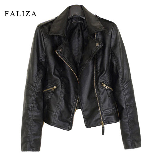 FALIZA 2018 New Fashion Women   Leather   Jackets Short PU   Leather   Jacket Woman Female Moto Casaco Feminino Turn Down Collar JK002