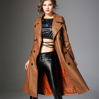Spring New High end PU Leather Windbreakers European Style Women's Fashion Slim Long Trench Coat Elegant Female Outerwears