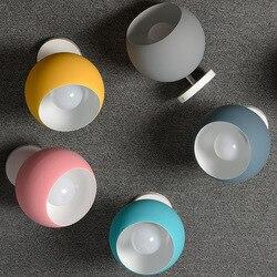 Nordic Macaron jasny sufit korytarza lampy domu ganek przejściach i korytarzach okrągłe proste kolor różowy niebieski szary żółty obrotowy LED E27 żarówka