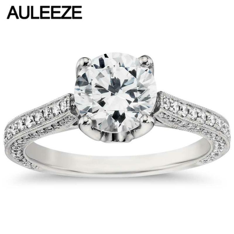 Europäische Retro Rosa Saphir Ring Trio Kathedrale 1 Carat Moissanites Lab Grown Diamant 14 K Weißen Gold Engagement Ring Für Frauen
