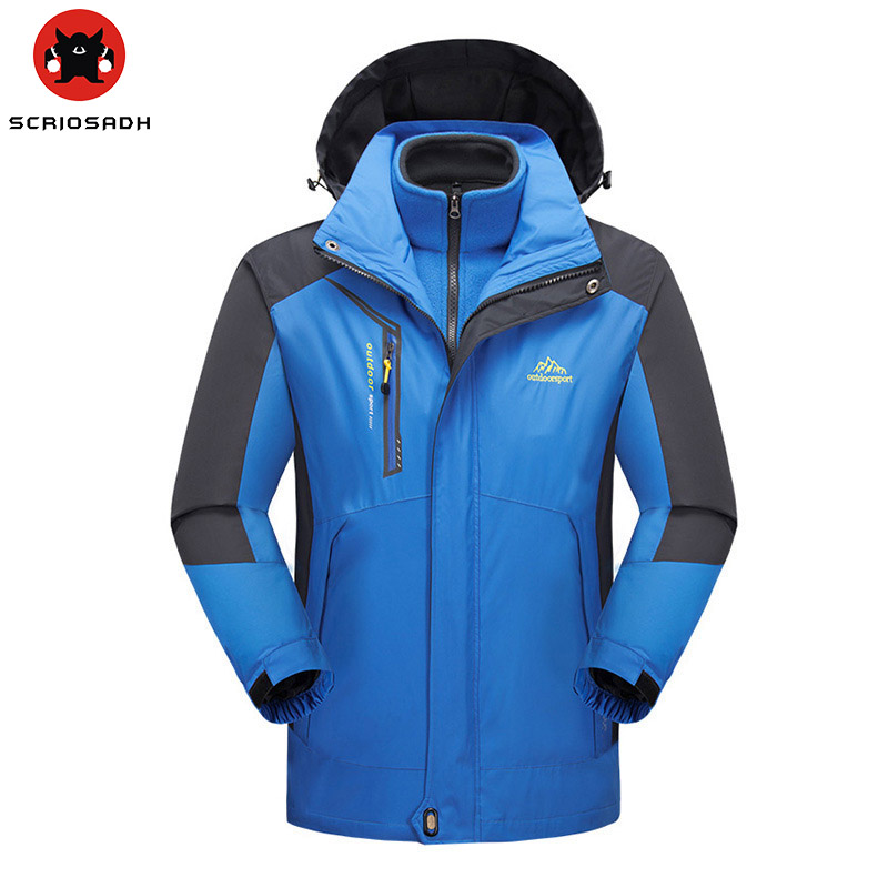 High quality Outdoor Couples 3 in 1 Softshell jacket Men women Two-piece Polar fleece warm windproof jacket waterproof jacket 2016 high quality alpha n 3b mens shark softshell jacket tad outdoor male warm waterproof man fleece jackets outerwear