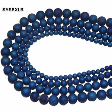 Free Shipping Natural Beads Round Matte Navy Blue Frosted Drusy Agata loose For Jewelry Making DIY Bracelet 6 8 10 12 MM