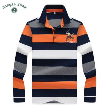 Wysokiej jakości jednolity kolor 3D haft koszulka Polo Casual koszulka Polo męska koszulka polo z długim rękawem 2019 nowa w paski mężczyźni Polo 8808 tanie i dobre opinie JUNGLE ZONE Pełne CN (pochodzenie) REGULAR Na co dzień BADGE guzik COTTON Odporna na mechacenie Kolor kontrastu White duck down