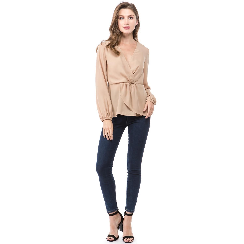 Women T Shirts Vintage Solid Long Sleeve Summer Sexy Deep V neck European Style T shirts Woman Tops Khaki