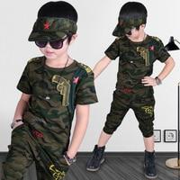 2017 Summer Boys Clothing Set Short Sleeve Camouflage Set Children S Clothing Cotton Army Green Kids