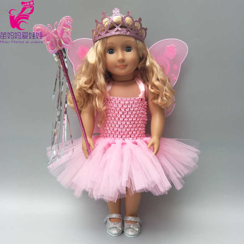 Набор одежды для куклы 43 см детская кукла бабочка платье с бисером для 18 дюймов платье для девушки куклы Корона волшебная палочка куклы аксессуары