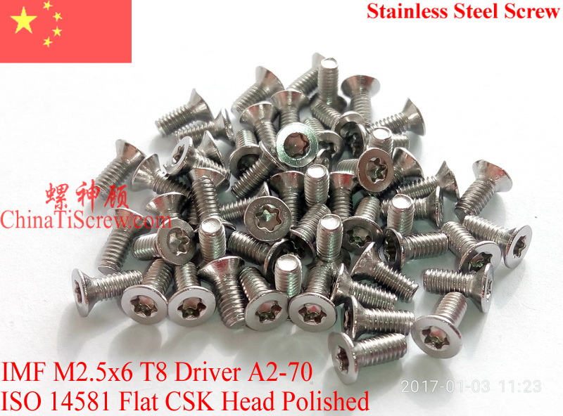 Stainless Steel Screws M2.5x6  Torx T8 ISO 14581 Flat Head A2-70 Polished ROHS тонер картридж cactus cs cb382a yellow