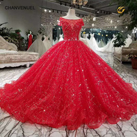 LSS031 red cheap wedding dress short sleeve o neck ball gown elegant dress with long train for wedding party quick shipping