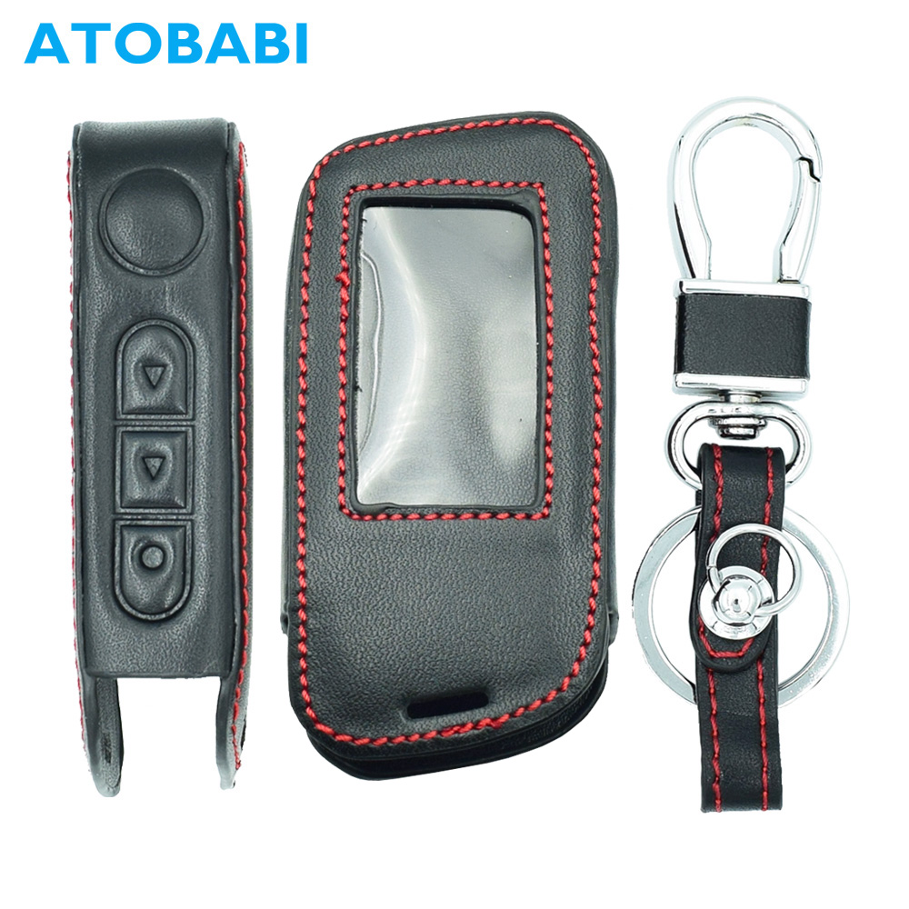 ATOBABI A66 Genuine Leather Key Fob Cases For StarLine A93 A63 A39 A36 Two Way Car Alarm System Remote Controller LCD KeyChain 6 port mobile cell phone security display stand alarm holder charging for all phones and tablets with acrylic stand alarm box