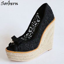 Black Lace Women Wedge Pumps Peep Toe Bowknot Thick Platform High Heels Comfortable Ladies Shoes Summer Style Breathable Pumps superstar lace up platform thick bottom high heels wedge women pumps square toe sneaker casual elegant big size oxford shoe l5