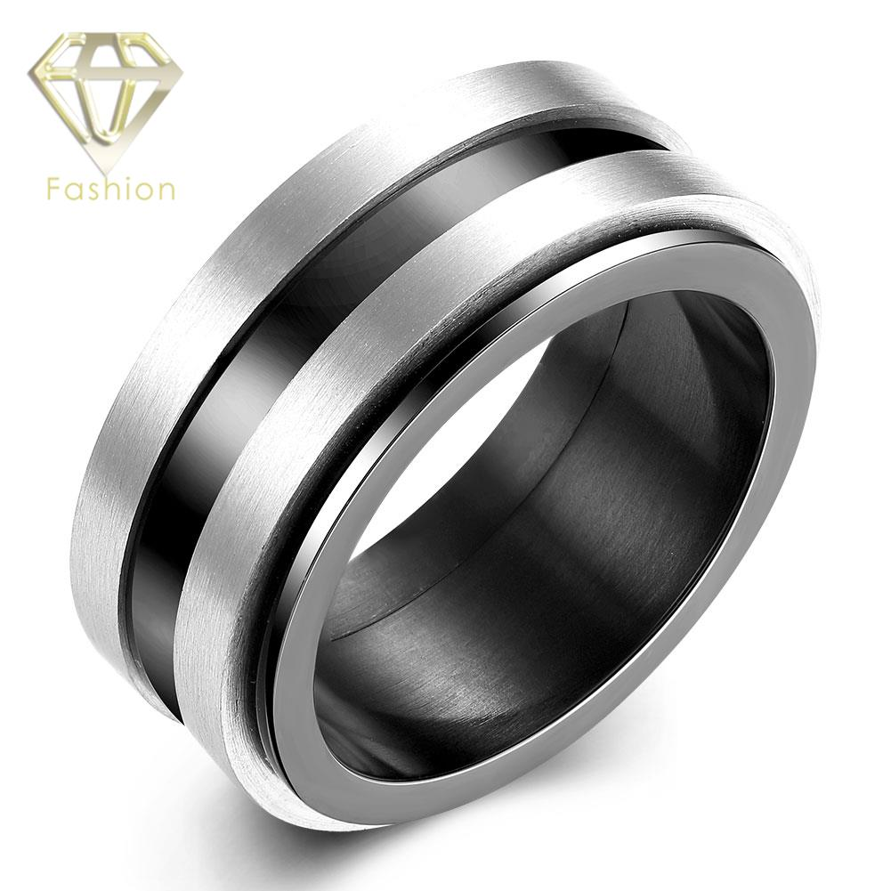Men Wedding Ring New Fashion Silver Plated Vintage Black Row 316L Stainless Steel Finger Rings Romantic Jewelry Wholesale