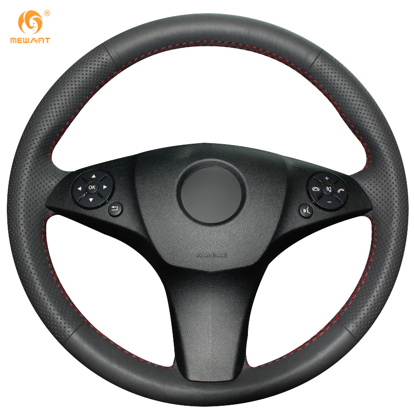Mewant black genuine leather steering wheel cover for for Mercedes benz steering wheel cover