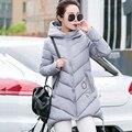 2017New llegada mujeres sección largo invierno chaquetas de down seis colores irregular con capucha chaqueta delgada del todo-fósforo de algodón cálido abrigo coreano