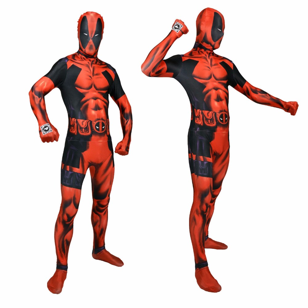 3D Style Mens Nylon Lycra Stretch Deadpool Costumes Spandex Zentai Suit Full Body Zentai Bodysuit Halloween Cosplay Costumes
