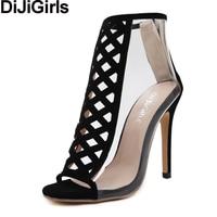 DiJiGirls Women Summer Peep Toe Ankle Boots PVC Crystal Transparent Sandals Bootie High Heel Stiletto Cut