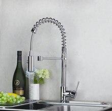 Роскошный Нежный кухонный кран хром полированный бортике одной ручкой на одно отверстие горячая холодная вода видных смеситель