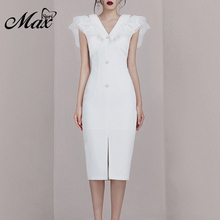Max Spri 2019 New Fashion Women Office Dress V-neck Chiffon Ruffles Sleeve Front Slit Party Outwear Sexy Party Dress Solid White fashion v neck cutout cross back front slit dress for women