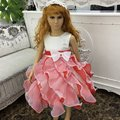 Free Shipping Ruffles White With Red Flower Girl Dress Mix Color Girl Party Dresses For Kids 2-10 Years Glamour Gowns C861