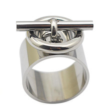 Women Stainless Steel Finger Ring Fashion Jewelry Wide Silver Color O Closure Lock Ring Size 7 11 10 6 9 8