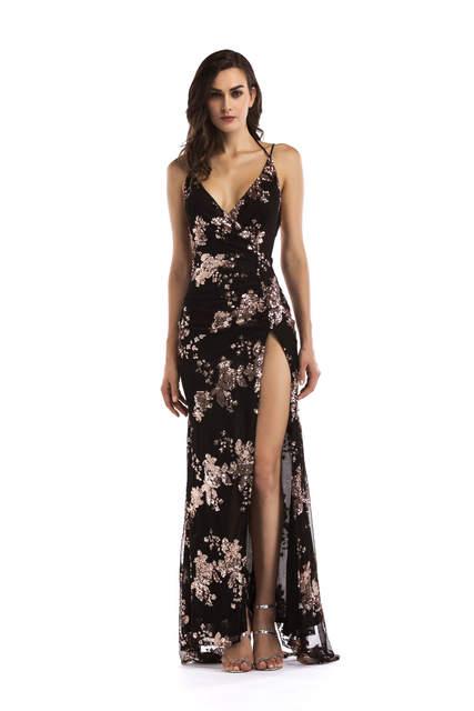4b093272a placeholder Reaqka Sexy Luxury Gold Sequins Maxi Dress Summer 2018 Elegant  Black V Neck Split Club Sleeveless