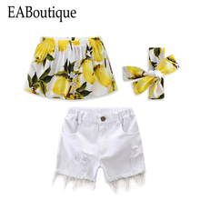 EABoutique 2017 New Summer Fresh Fashion girls clothes lemon leaf pattern tube top with short jeans shorts 2 piece set