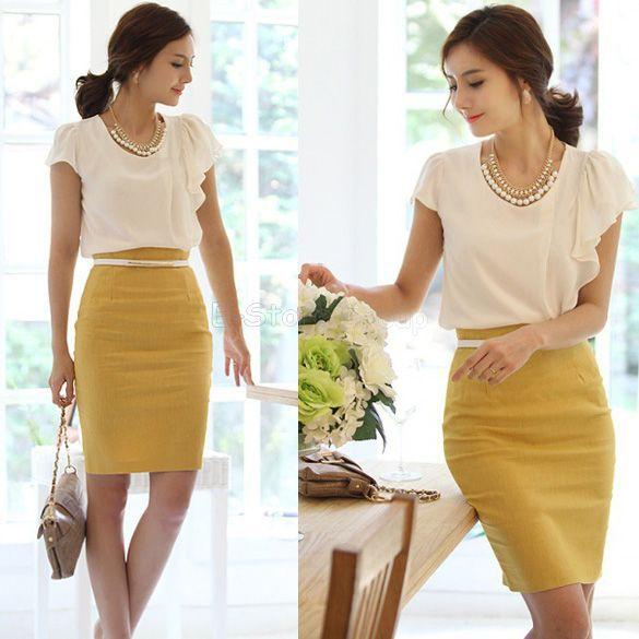 Online Shop 2015 Spring Autumn Women Office High Waist Skirt ...