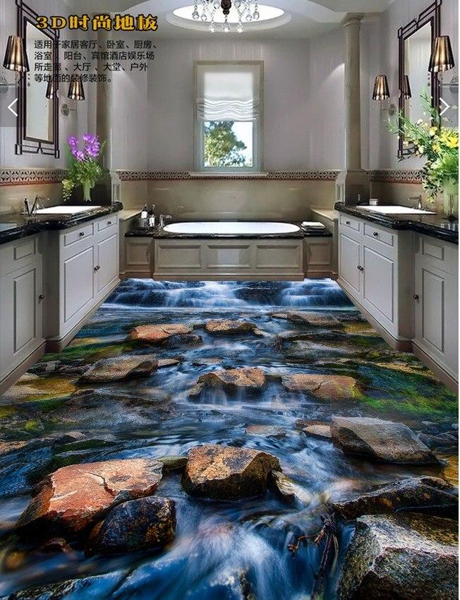 3d plancher étanche papier peint pvc plancher chambre personnalisé mural photo Brook pierre autocollant peinture papier peint pour murs 3d